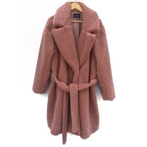 Eloquii Fuzzy Boucle Belted Teddy Coat